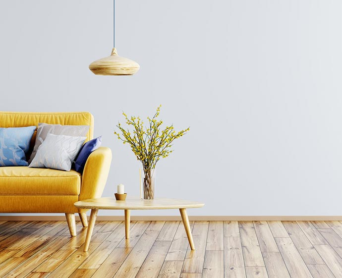 Yellow and grey home decore