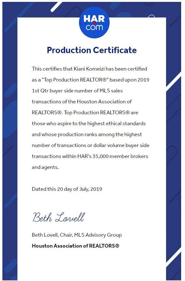 Kiani certificate